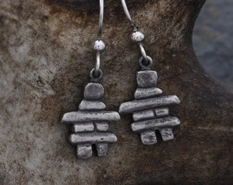 Inukshuk sterling silver earrings