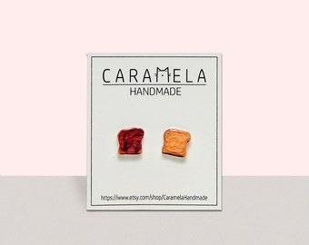 Peanut Butter And Jelly Sandwich Stud Earrings Post Jewelry Strawberry Jam Kawaii Gift Idea