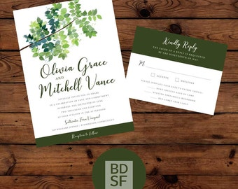 Printable Wedding Invitations // Watercolor Ivy Design // Chose Wording and Colors // DIY Printable Wedding Invites // Fully Customizable
