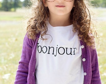 Bonjour Shirt in Black and White - Bonjour Paris Shirt - French Shirt - Baby Gift - Bonjour Bebe - French - Paris - Baby Shower Gift