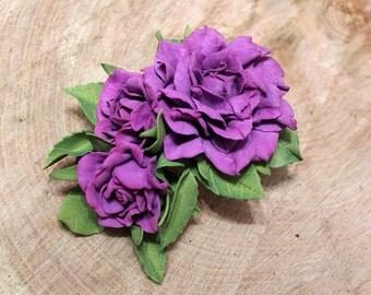Wedding Hair Clip Flower Headband Lilac Wedding Barrette Purple Roses Wedding Bride Couture Rosette Headband Jewelry Boho Festival Barrette