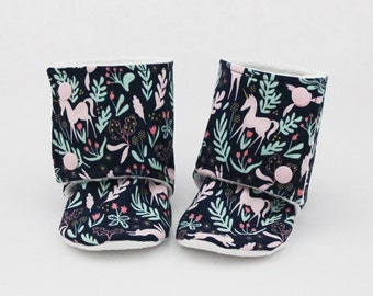 Baby stay-on booties, Unicorn slipper boots, Navy floral, Pink, Mint, Minky and cotton, Toddler, Kid, Children shoes, Gift idea, Winter