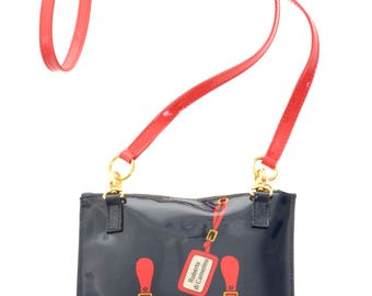 ROBERTA DI CAMERINO vintage 1990s blue and red patent trompe l'oeil crossbody shoulder mini bag