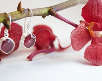 Gorgeous Raw Genuine Ruby Earrings set in Brushed Sterling Silver with Hooks