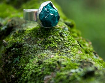 One of a Kind Raw Dioptase Ring set in Beaten Sterling Silver with Adjustable Band