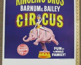 Vtg 1950s Ringling Brothers Barnum Bailey Circus Poster Blue Elephant 28.5x22.5 1958 Program cover art