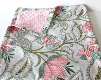 Floral Baby Blanket- Minky Baby Blanket- Girl Baby Blanket- Bohemian Minky Blanket- Flower Blanket- Pink and Mint Bedding- Mint Baby Blanket
