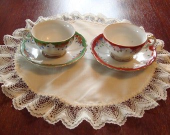 Made in Occupied Japan - 2 Hand Painted Small Tea Cup and Saucer Sets - One Set with Red Trim, One Set with Green Trim