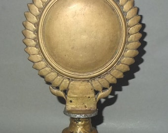 Tibetan Antique Bronze Alloy Ritual Melong Mirror, Ethnic Buddhist Art, Ritual Object, FREE SHIPPING
