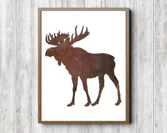 Moose Silhouette Printable Wall Art - Woodland Animal Wall Decor- Brown Wall Art- Office Art Poster - Forest Animal- 11 x 14 - 8 x 10 -5 x 7
