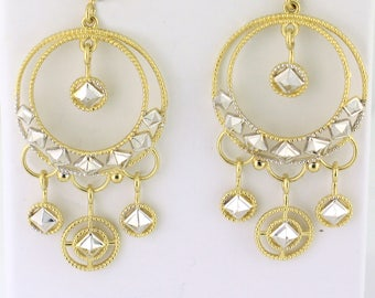 Gold Chandelier Earrings with Post Backs 14k Yellow Gold with White Gold Accents - GOLD10007