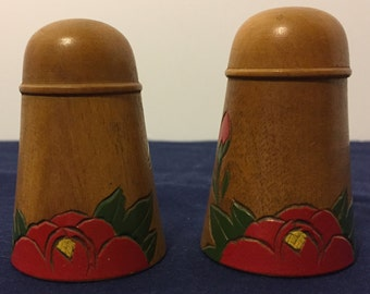 Vintage Wooden Hand Painted Rose Salt and Pepper Shakers