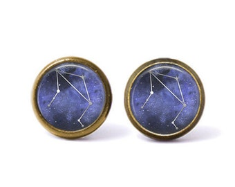 Libra Constellation Stud Earrings | Libra Earrings Constellation Jewelry Zodiac Earrings Galaxy Earrings Stars Space Astrology Watercolor
