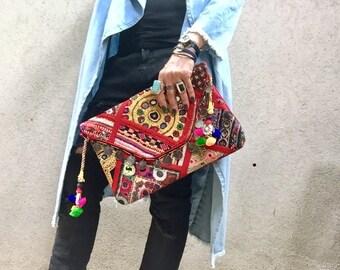 Banjara Bag, Indian Clutch, Hobo Bag, Banjara Clutch, Red Bag, Gypsy Clutch, Boho Clutch, Banjara Clutch, Ethnic Clutch called Nova