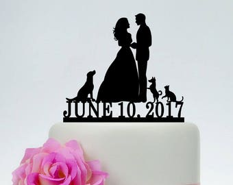 Wedding Cake Topper With Dog And Cat Bride Groom PetsMr