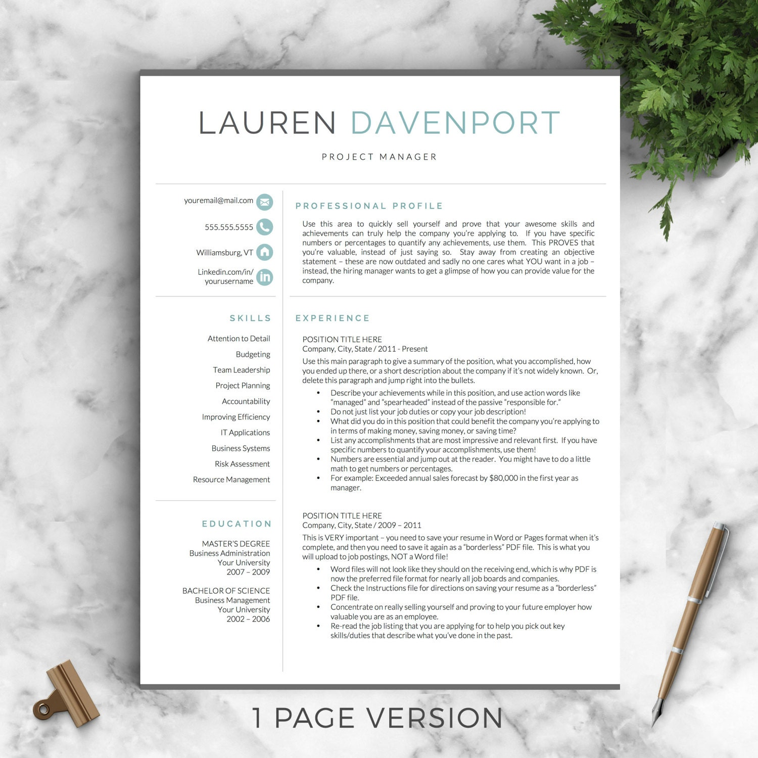 zoom - 1 Page Resume Template Word