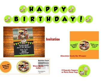 The Loud House Birthday Party Bundle - Digital Download - Invitation, Banner, Cupcake Toppers, Water Labels & Candy Labels