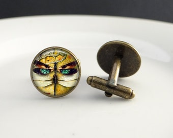 Dragonfly Insect Cuff Links Men's Accessories - Insect Cufflinks Dragonfly Bug Accessories - Cuff Links Gift For Men Dragonfly Accessories