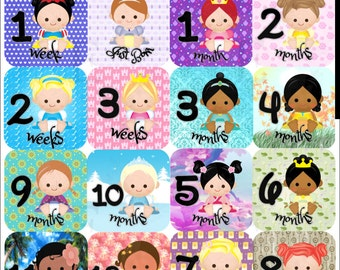 Princess Month Stickers, Baby girl Monthly stickers, Baby month stickers, Milestone stickers, baby girl, princess nursery