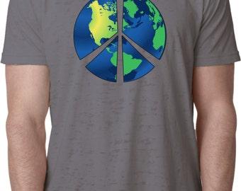 Men's Peace Shirt Blue Earth Burnout Tee T-Shirt BLUEEARTH-NL6110