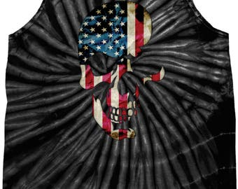 Men's Skull Americana Tie Dye Tank Top 19425D2-3500
