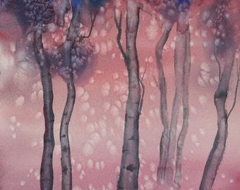 "Original Watercolor Painting, Autumn Aspens, 14"" x 20"""