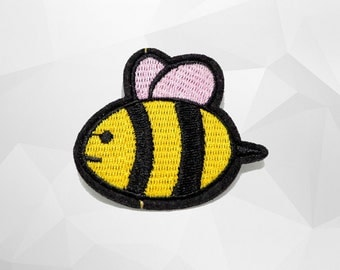 Yellow Bee Iron on Patch(M) - Bee Cartoon Applique Embroidered Iron on Patch - Size 5.7x5.1 cm