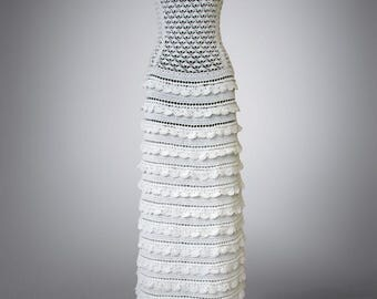 Crochet dress Letizia. Milk white floor lenght wedding or special occasion cotton crochet dress. Made to order. Free shipping.