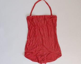 Vintage Swim Suit - One Piece Bathing Suit - Halter Top - Tube Top - Cherry Red - Small XS - Mod Retro