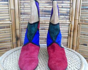 1980s Geometric Color Block Mid-Calf Italian Suede Boots - 7.5M