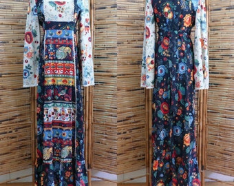 1960s/1970s Swiss Folk Art Print Maxi Dress with Bell Sleeves - Small/Medium