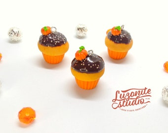 Halloween cupcakes with chocolate and pumpkin handmade polymer clay
