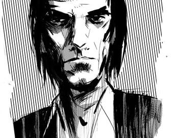 Nick Cave Portrait A4 print, pen & ink