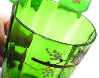 set/4 Mouth Blown Moser? enameled & gilded Art Nouveau Juice Glasses / Tumblers - Antique Bohemian glass