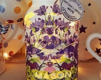 Hand made floral watercolour Mason jar