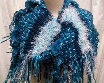 Teal Hand Knitted Textural Shawl, Wrap, Scarf