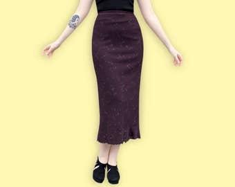90s Maxi Burgundy Skirt - Grunge Ditsy Floral Column Skirt - Minimalist Long Sheath Skirt - Sheer Ruffle Skirt - Romantic Chiffon Skirt