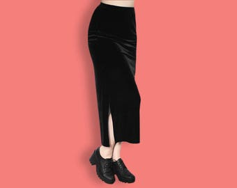 90s Black Velvet Skirt - Grunge Velvet Skirt - Maxi Witch Goth Skirt - Aesthetic Column Skirt - Club Kid Skirt - Normcore Minimalist Skirt