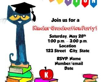 Pete the Cat Graduation Party Invitation | Digital File