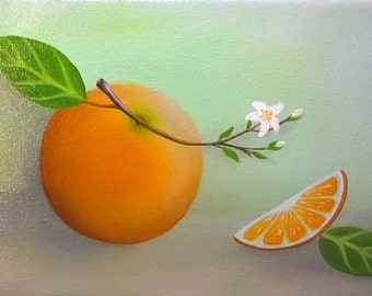 Citrus Orange Still Life Oil Painting