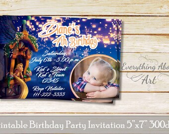 Rapunzel invitation, Rapunzel birthday invitation, Tangled party theme, Printable invitation, Invitation with photo Rapunzel