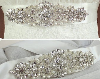 Wedding Dress Belt sash, Wedding dress Belt, Rhinestone Belt, Crystal Sash, Hand Sewn  006