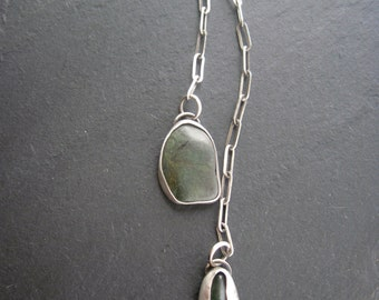Green Lariat Necklace, Long Y Necklace, Raw Silver Jewelry, Organic Shaped /OnSale *See Shop Page
