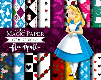 50% OFF SALE Alice in Wonderland Digital Paper Clipart Scrapbook Instant Download