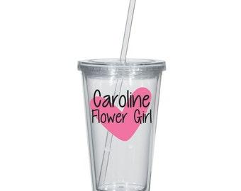 Flower Girl Tumbler with Straw, Flower Girl Tumbler with Heart, Gift for Flower Girl, Will you be my Flower Girl, Flower Girl Cup with Straw