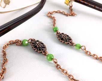 Green Jade and Copper Eyeglasses Chain, Copper Eyeglasses Chain, Eyeglass Holders Necklaces, Reading Glasses Holder, Eye Glass Chain, Go