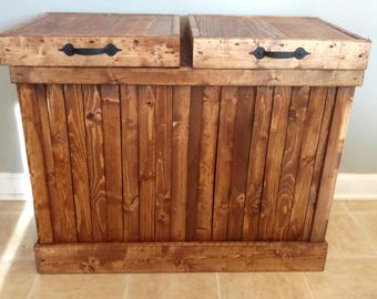 Charming Recycling Bin, Double Trash Can, Double Garbage Can, Rustic Wood Trash Bin,