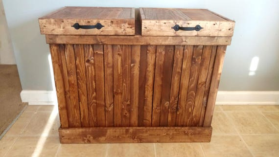 recycling bin double trash can double garbage can rustic. Black Bedroom Furniture Sets. Home Design Ideas