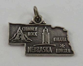 Map of Nebraska State Sterling Silver Vintage Charm For Bracelet