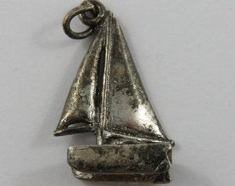 Sail Boat Sterling Silver Vintage Charm For Bracelet
